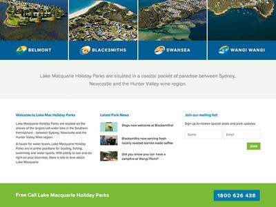 Lake Mac Holiday Parks lake web responsive lake mac lake macquarie web design