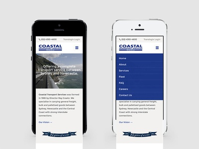 Coastal Transport web responsive ui design coastal transport