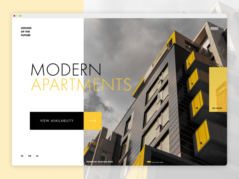 Daily UI  003 futura black grey yellow practice architecture webdesign dailyuichallenge dailyui 003 dailyui ui design