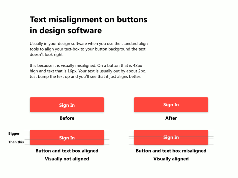Text misalignment ui tips design software uidesigns uidesign designs hints button design design tutor tutorials tutorial