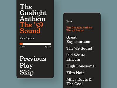 Typographic Music Player serif font serif mobile ui mobile uxui experimental ui experiment uiux ux design ui design minimal typography app ux ui design