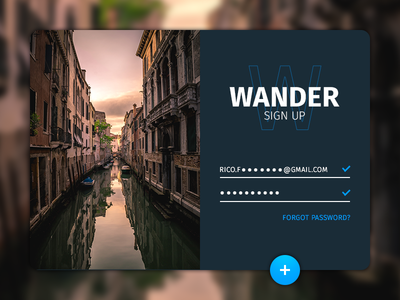Daily UI 001 001 dailyui uxui dark sign up wander travel interface ui