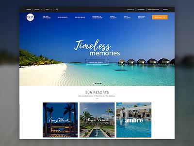 Sun Resorts Website paradise island web website vacation sun resorts ux ui