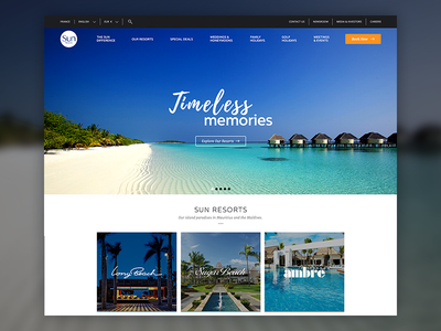 Sun Resorts Website paradise island web website vacation sun resorts ux ui
