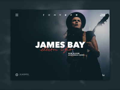 James Bay - Promo Page webdesign uidesign uxdesign musician music