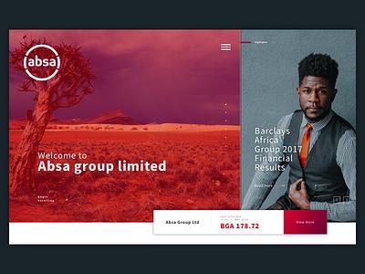 Absa Group Website banking bank finance responsive uxdesign ui uidesign griddesign red absa webdesign