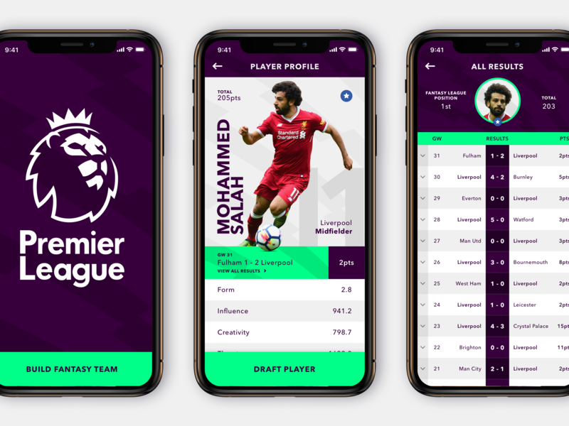 Fantasy Premier League App soccer fantasy football minimal sport concept practice mobile app design app ui design rebound mobile app design app ux ui