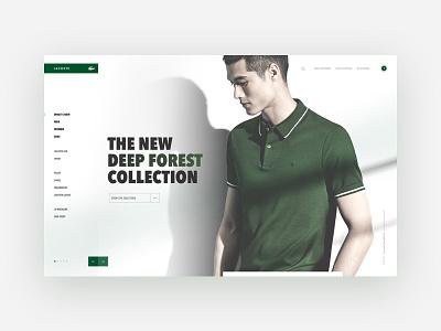 Lacoste re-design art direction visual design user interface ecommerce green brand crocodile lacoste interaction ui design