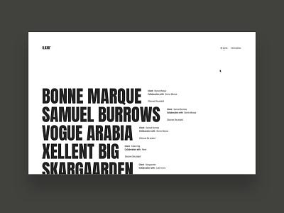 II.XXII ™ minimalist black white typography type website design agency studio digital two twenty two