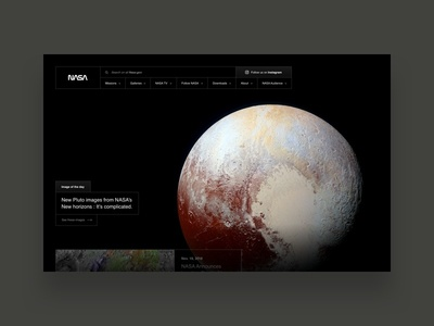 National Aeronautics and Space Administration typography photography visual design art direction user interface digital website minimalist pluto space nasa planet dark black design freelance