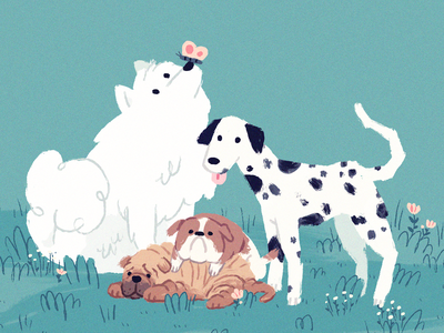 doggo plants cute digitalart procreate dogs dog illustration