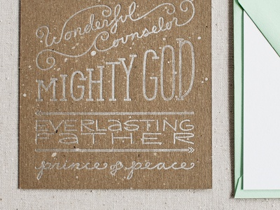 Letterpress on Chipboard // Isaiah 9:6 Christmas Card letterpress hand-lettered silver ink chipboard christmas card holiday isaiah 9:6 arbor corner typography