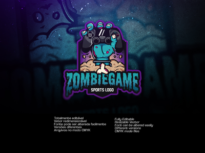 ZOMBIEGAME SPORTS LOGO   Available on Gumroad vector illustration design sports branding games gamer game zombie logo gaming logo gaming sports logo sports zombie sports zombie
