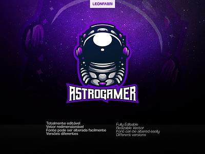 ASTROGAMER SPORTS LOGO sports gaming logo sports logo illustration vector e-sports astronauta game design gaminglogo gaming logo sport logo astronomy astronaut
