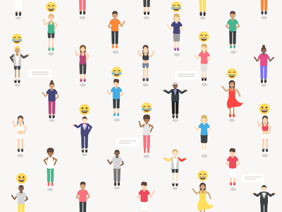 Beyond distance and language. vr space social platform isometric emoji communication colorful characters