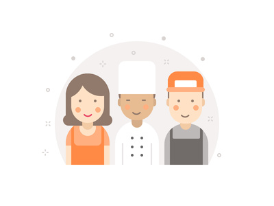 Food experts people user mister chef food characters illustration