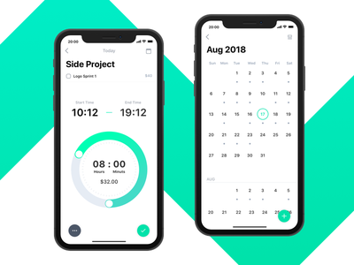 Time Tracker Concept task calender iphone x prototype project tool work time ui ios app