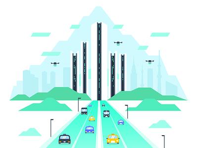 Future City drone tokyo share ride taxi car future city illustration