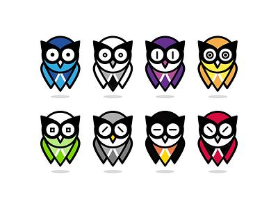 Owl floating animal owl character creation character logo icon illustration