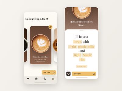 Coffee Ordering App ux order chocolate coffeeshop cup coffee brown cafe ios ui app