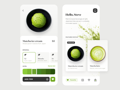 Matcha cafe app product design mobile dailyui clean white green color animation ux order cafe tea matcha branding ui illustration ios app