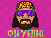 Oh Yeah! Be Savage! character slim jim nwo wwe illustration wrestlemania wrestling randy savage macho man