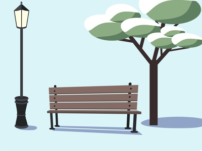Winter urban landscape - an empty park bench, a tree in the snow icon emptiness loneliness urban landscape flat minimal design vector flat design illustration