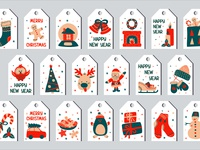 Christmas set of gift tags in the style of Scandinavian simple