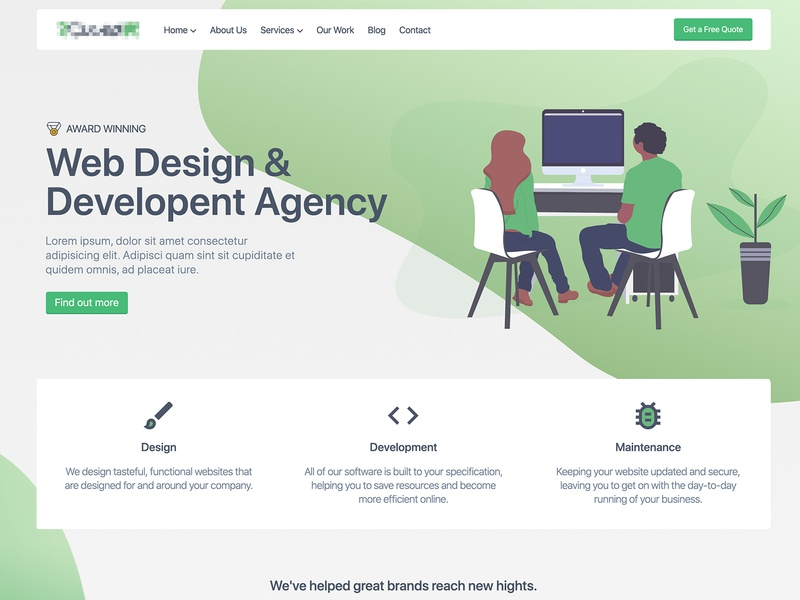 Web Agency cta design agency development tailwind gradient award winning web design illustration header nav landing page website