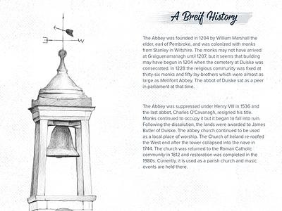 Duiske Abbey Page digital drawing ireland web design abbey bell sketch hand drawn