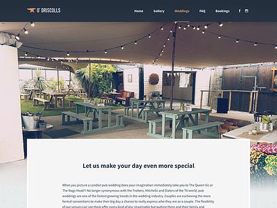 O' Driscolls Bar | Weddings garden beer bar pub irish wedding navigation nav ireland kilkenny logo anvil design web design website