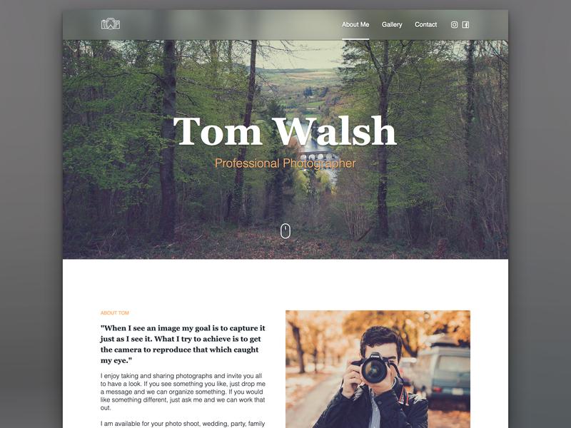 Photographer | About Me wip header glass frosted transparent camara wood photographer photograhy typography nav landing page design irish website web design