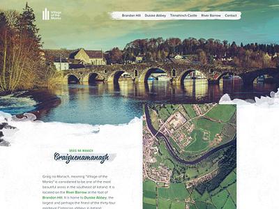 villageofthemonks.com design texture webdesign website watercolor typogaphy landing page kilkenny ireland header church brush bridge abbey