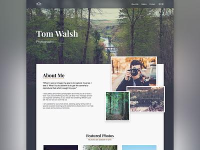 Photographer | About Me v2 ireland wood wip website web design typography photographer transparent photograhy nav landing page irish header frosted glass design camara