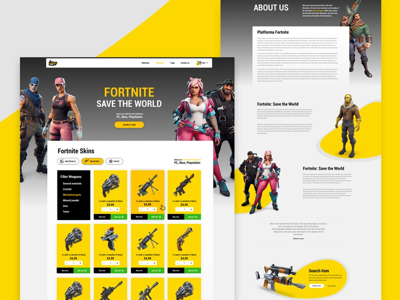 Fortnite items shop website color gaming interace landing page uidesign playstation xbox cart simple design homepage shop e commerce ui game
