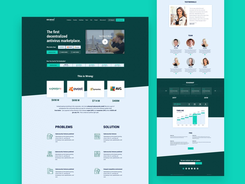Aceso ico - landing page. agency abstact 2d antivirus virus coins bitcoin landign design landing page landing ui pack style components bar design