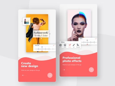 Mobile app for social content creation concept color art onboard onboarding ios template social media photoediting appdesign app design ux components ui