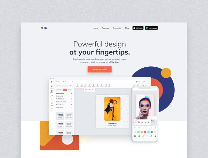 Fibe app - landing page content creation content design social media editorial destop multiplatform mocup apple app design appdesign apps landing web