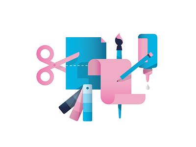 Creative Tools shadow graphic paintbrush tools creative color paper pencil glue scissors