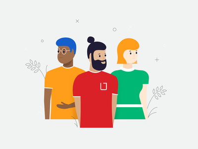 Three Amigos stylish character design person playful hipster youth friends community scene foliage guy girl hair colorful posing people illustration character