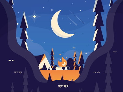 Camp camp camping stars tree tent scene moon night fire outdoors foliage character illustration