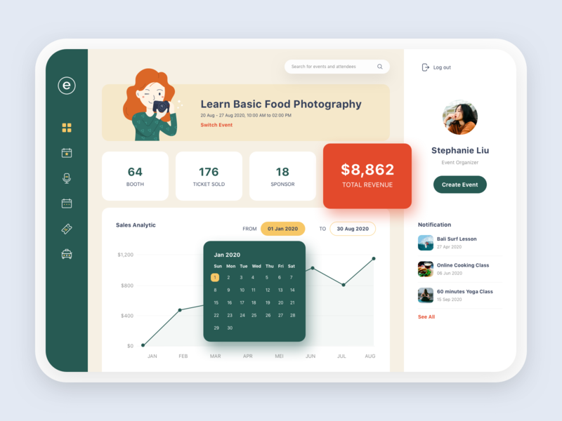 Dashboard Page for Event Management dribbble management event illustration icon clean ui design ui  ux web design product design dashboard app design app