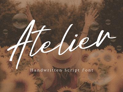 Atelier Handwritten Font logotype signage magazine handwritten font wedding font wedding invitation feminine logo script font