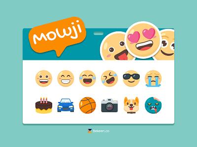 Mowji Emoticon Pack vector flat illustration app messaging chat icons stickers emoji emoticon