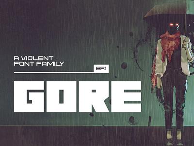 Gore Typeface gaming film title poster music logo game futuristic font album cover creativemarket
