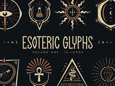 Esoteric Glyphs fantasy mystical glyphs occult esoteric vector branding design illustration tugcu title logo game creativemarket