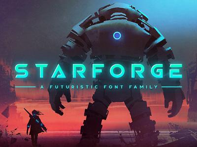 Starforge Typeface sleek cyberpunk sci-fi futuristic gaming tugcu typeface poster game album cover font creativemarket title logo