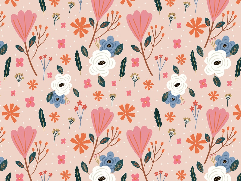 Pink Flower colors flower illustration draw illustration fabric pattern flower pink