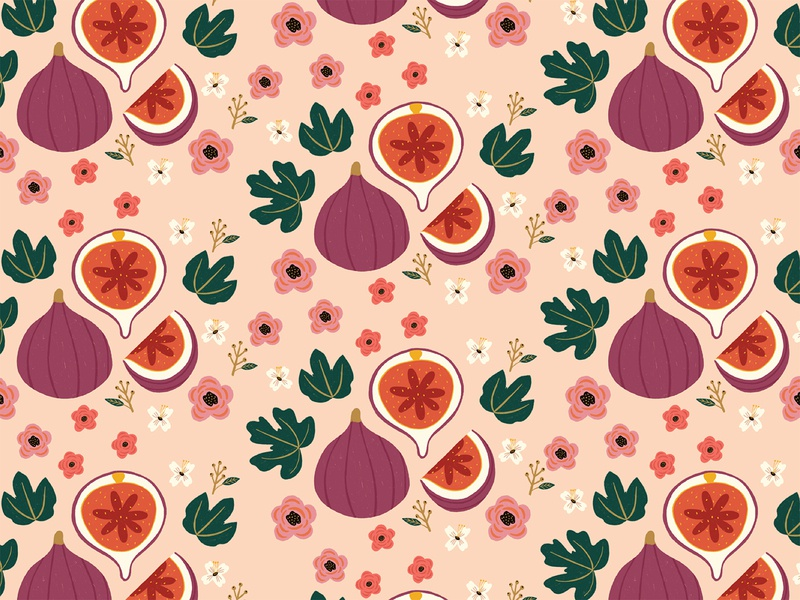 Tin Pattern flower procreate illustration printmaking textile print leaf fruit pattern tin