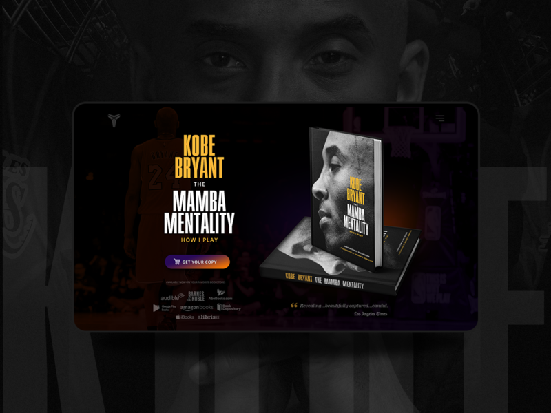 """Landing Page Design Concept for """"The Mamba Mentality"""" Book"""